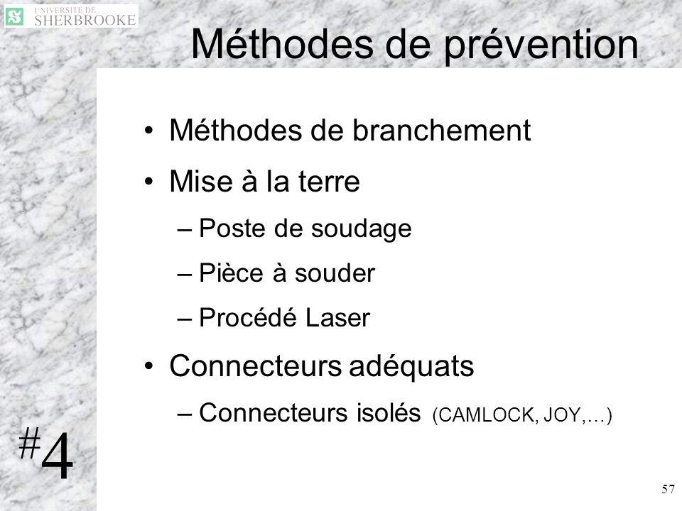 57 Méthodes de prévention Méthodes de branchement Mise à la terre –Poste de soudage –Pièce à souder –Procédé Laser Connecteurs adéquats –Connecteurs i