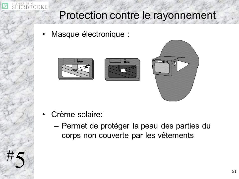61 Protection contre le rayonnement Masque électronique : Crème solaire: –Permet de protéger la peau des parties du corps non couverte par les vêtemen