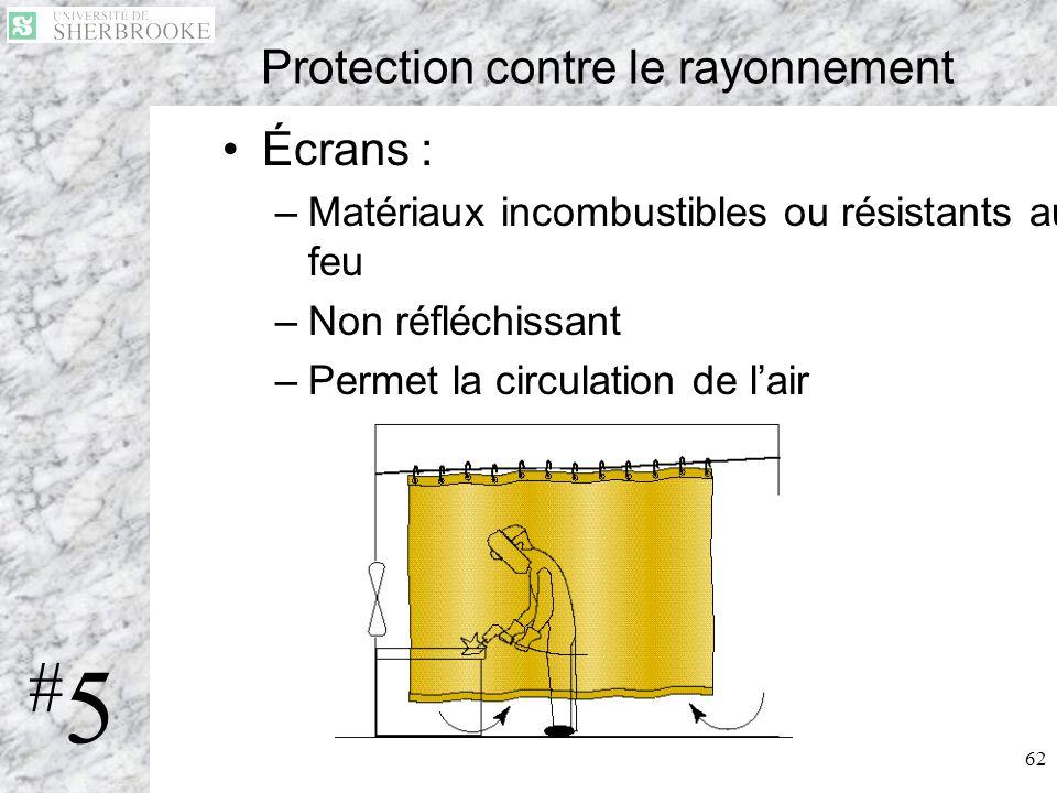 62 Protection contre le rayonnement Écrans : –Matériaux incombustibles ou résistants au feu –Non réfléchissant –Permet la circulation de lair #5#5