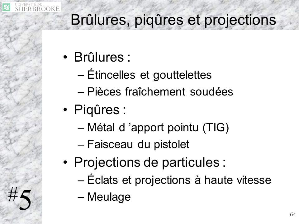 64 Brûlures, piqûres et projections Brûlures : –Étincelles et gouttelettes –Pièces fraîchement soudées Piqûres : –Métal d apport pointu (TIG) –Faiscea