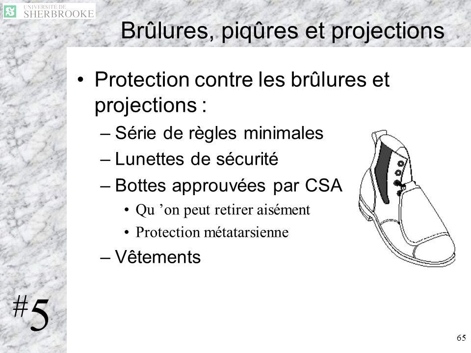 65 Brûlures, piqûres et projections Protection contre les brûlures et projections : –Série de règles minimales –Lunettes de sécurité –Bottes approuvée