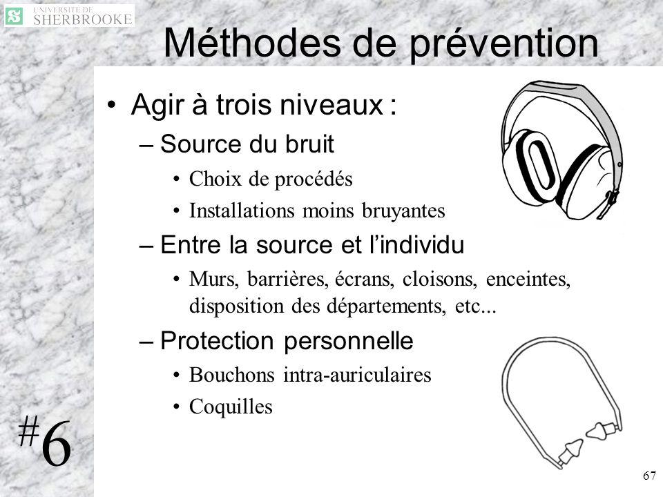 67 Méthodes de prévention Agir à trois niveaux : –Source du bruit Choix de procédés Installations moins bruyantes –Entre la source et lindividu Murs,
