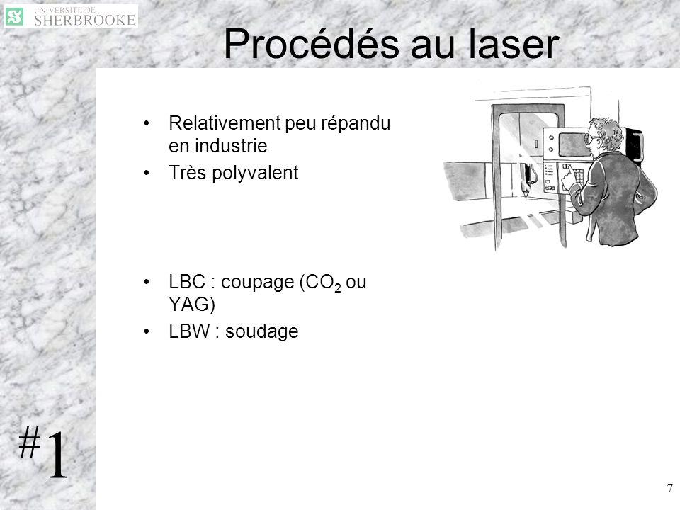 7 Procédés au laser Relativement peu répandu en industrie Très polyvalent LBC : coupage (CO 2 ou YAG) LBW : soudage #1#1