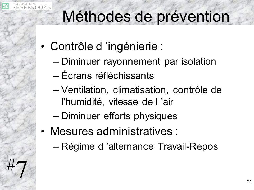 72 Méthodes de prévention Contrôle d ingénierie : –Diminuer rayonnement par isolation –Écrans réfléchissants –Ventilation, climatisation, contrôle de