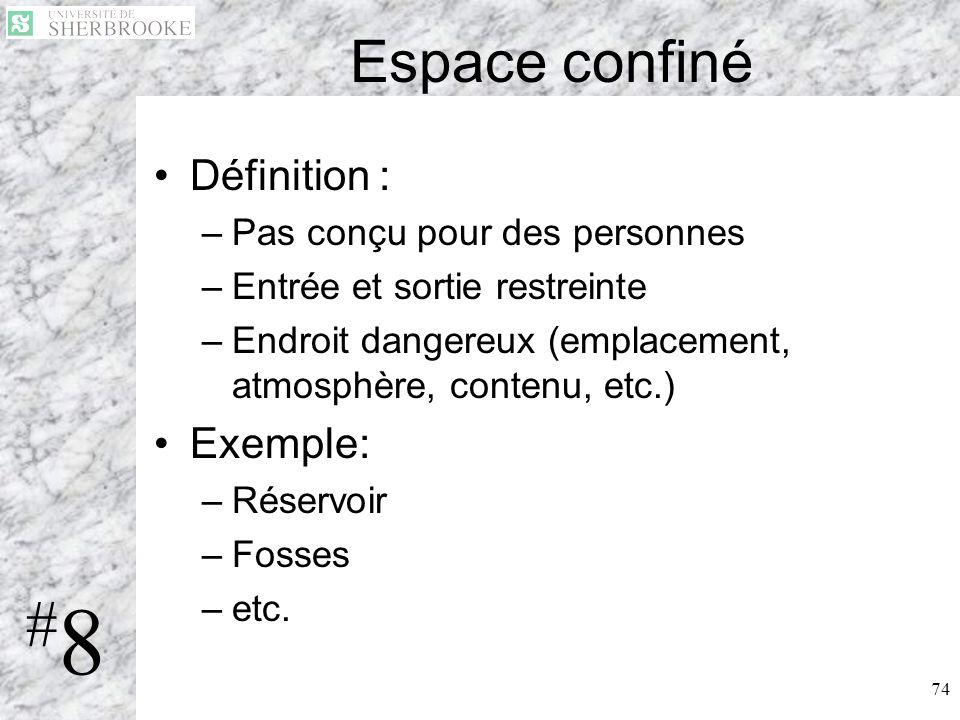 74 Espace confiné Définition : –Pas conçu pour des personnes –Entrée et sortie restreinte –Endroit dangereux (emplacement, atmosphère, contenu, etc.)