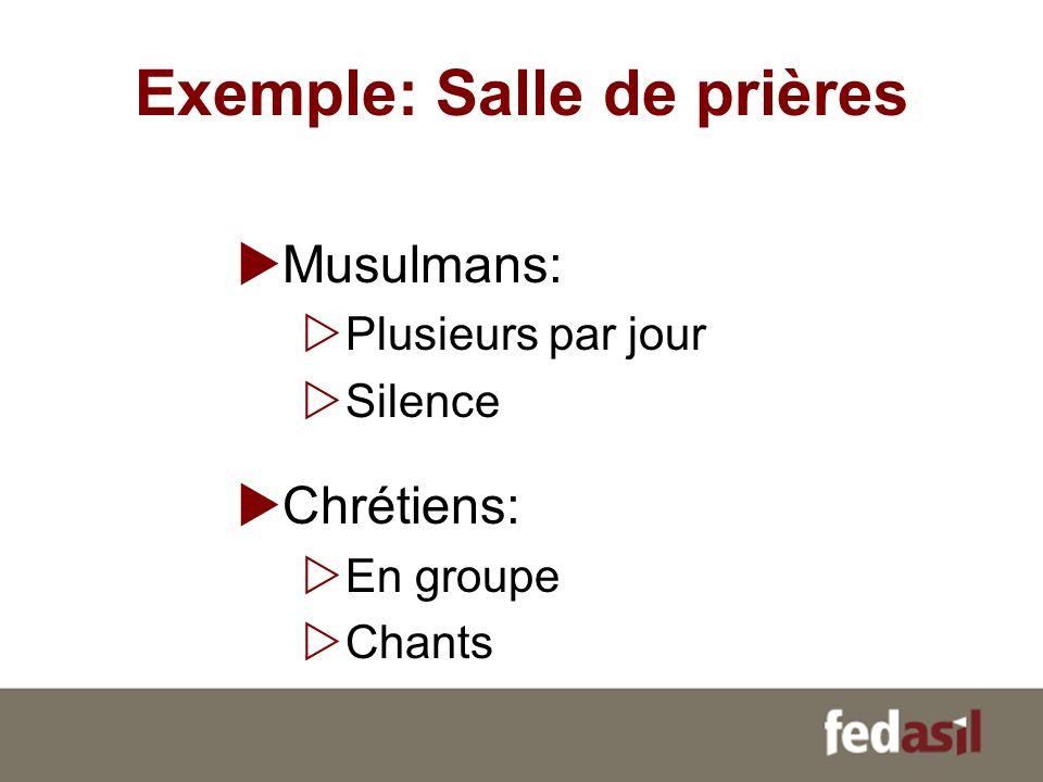 Exemple: Salle de prières Musulmans: Plusieurs par jour Silence Chrétiens: En groupe Chants