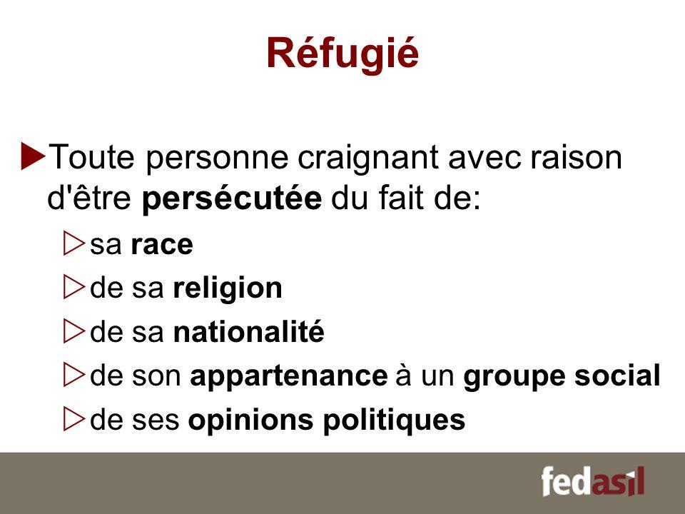 Réfugié Toute personne craignant avec raison d'être persécutée du fait de: sa race de sa religion de sa nationalité de son appartenance à un groupe so