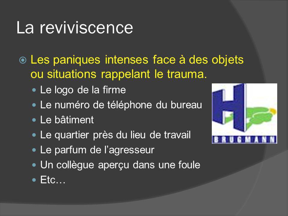 La reviviscence Les paniques intenses face à des objets ou situations rappelant le trauma. Le logo de la firme Le numéro de téléphone du bureau Le bât