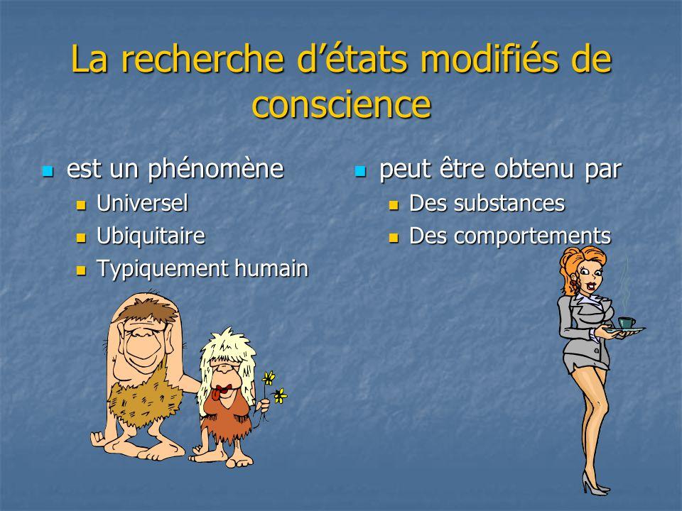 La recherche détats modifiés de conscience est un phénomène est un phénomène Universel Universel Ubiquitaire Ubiquitaire Typiquement humain Typiquemen