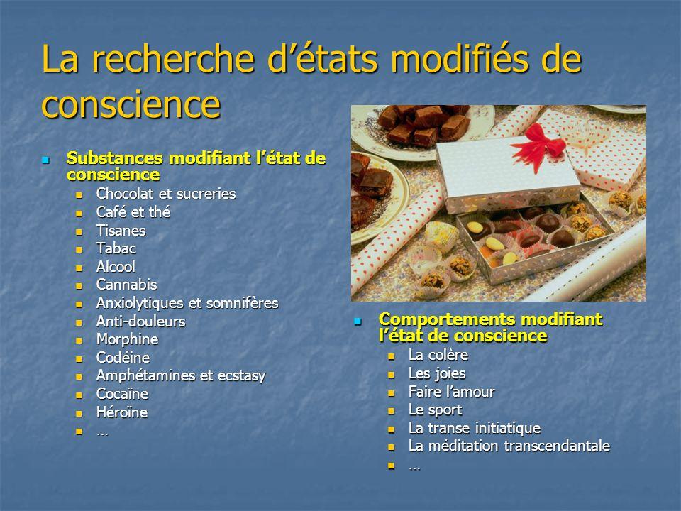 La recherche détats modifiés de conscience Substances modifiant létat de conscience Substances modifiant létat de conscience Chocolat et sucreries Cho