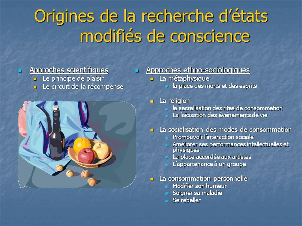 Origines de la recherche détats modifiés de conscience Approches scientifiques Approches scientifiques Le principe de plaisir Le principe de plaisir L
