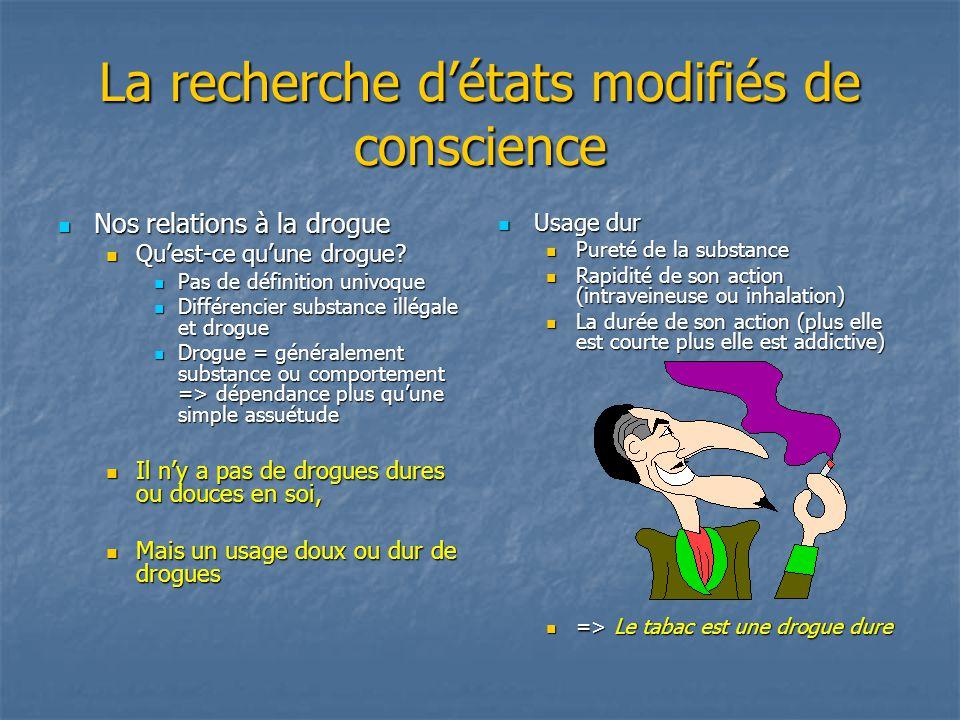 La recherche détats modifiés de conscience Caractéristiques dune « bonne relation » aux substances et comportements modifiant létat de conscience Caractéristiques dune « bonne relation » aux substances et comportements modifiant létat de conscience 1.
