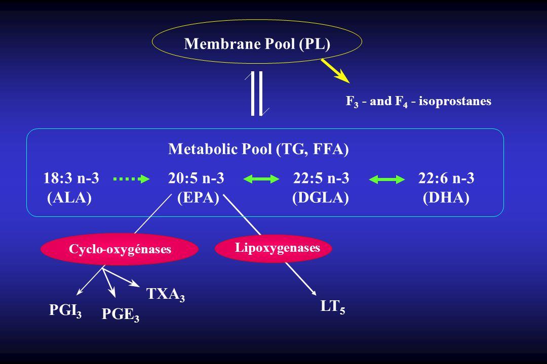 Membrane Pool (PL) F 3 - and F 4 - isoprostanes Metabolic Pool (TG, FFA) 18:3 n-3 20:5 n-3 22:5 n-3 22:6 n-3 (ALA) (EPA) (DGLA) (DHA) Cyclo-oxygénases PGI 3 PGE 3 TXA 3 Lipoxygenases LT 5