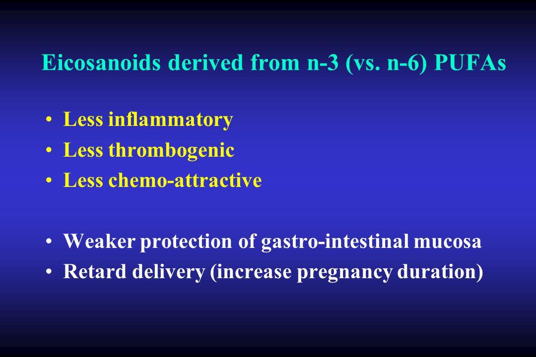 Eicosanoids derived from n-3 (vs.