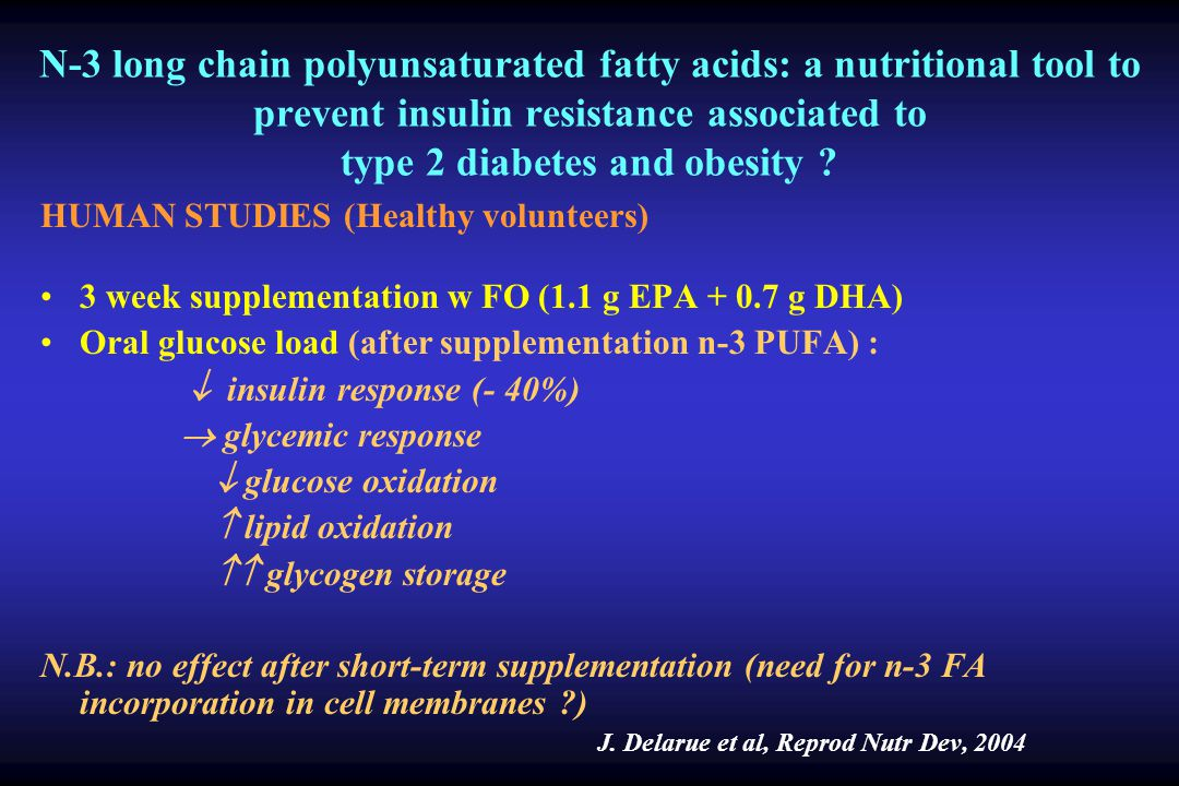 N-3 long chain polyunsaturated fatty acids: a nutritional tool to prevent insulin resistance associated to type 2 diabetes and obesity ? HUMAN STUDIES
