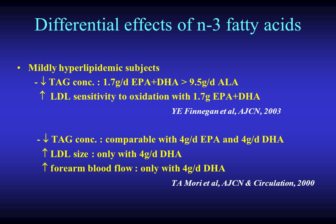 Differential effects of n-3 fatty acids Mildly hyperlipidemic subjects - TAG conc. : 1.7g/d EPA+DHA > 9.5g/d ALA LDL sensitivity to oxidation with 1.7