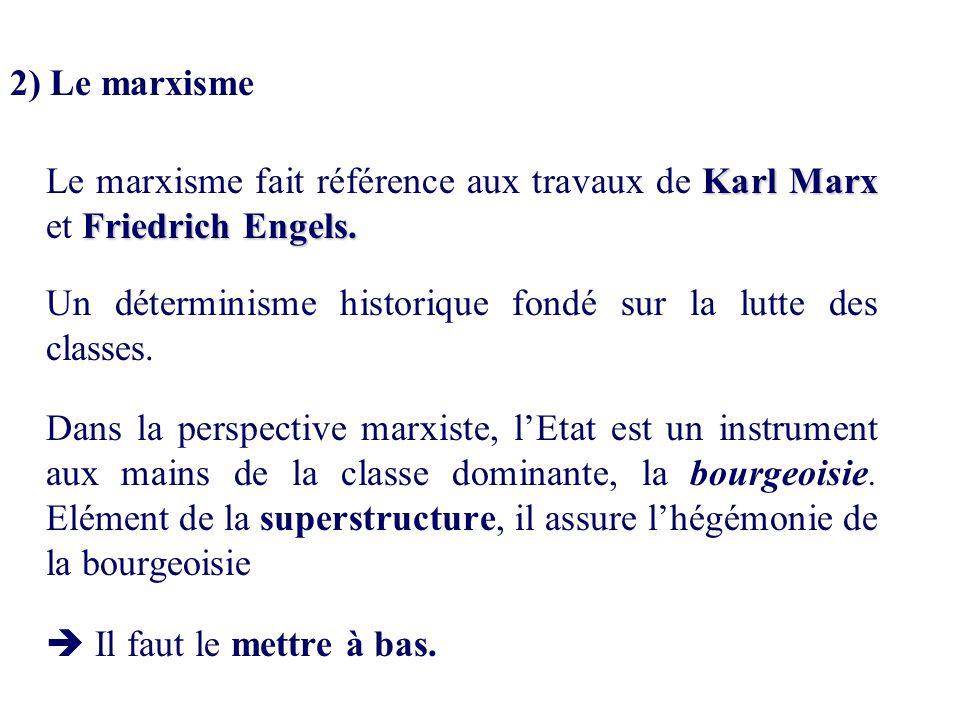 2) Le marxisme Karl Marx Friedrich Engels. Le marxisme fait référence aux travaux de Karl Marx et Friedrich Engels. Un déterminisme historique fondé s