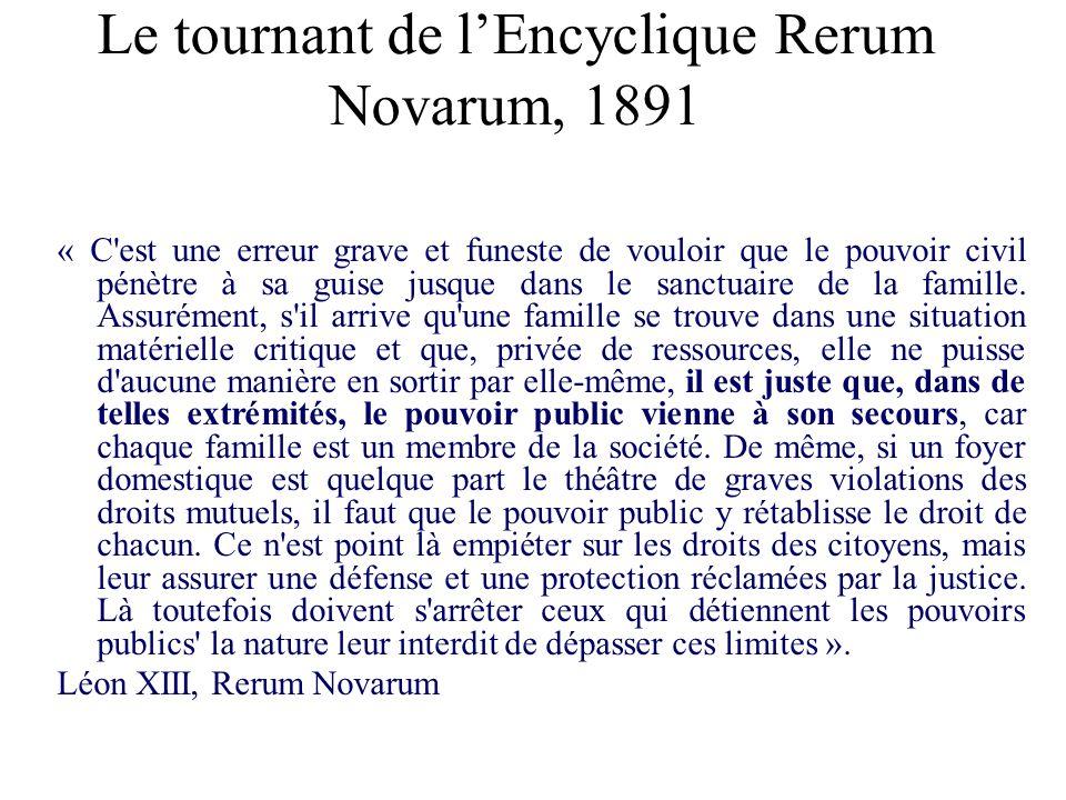 Le tournant de lEncyclique Rerum Novarum, 1891 « C'est une erreur grave et funeste de vouloir que le pouvoir civil pénètre à sa guise jusque dans le s