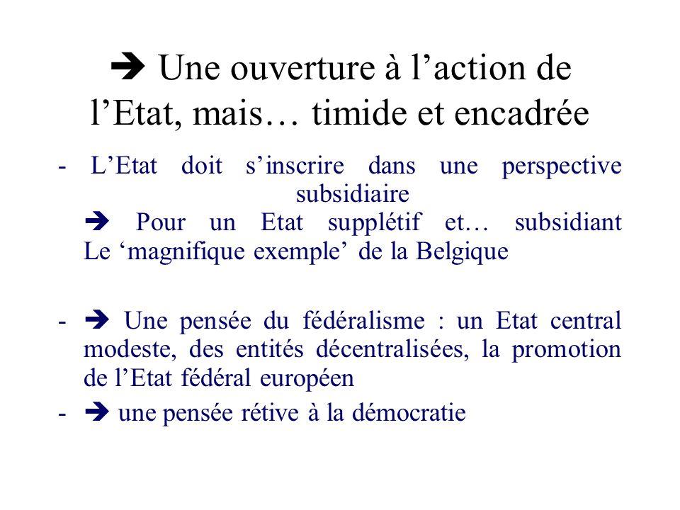 Une ouverture à laction de lEtat, mais… timide et encadrée - LEtat doit sinscrire dans une perspective subsidiaire Pour un Etat supplétif et… subsidia