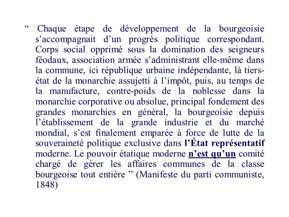 Chaque étape de développement de la bourgeoisie saccompagnait dun progrès politique correspondant. Corps social opprimé sous la domination des seigneu
