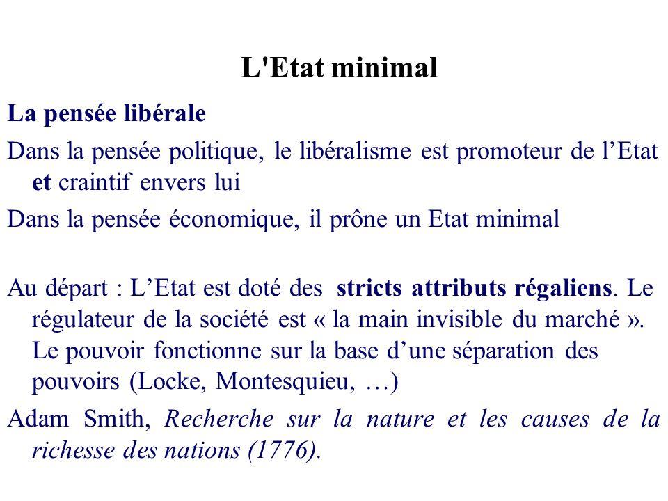 L'Etat minimal La pensée libérale Dans la pensée politique, le libéralisme est promoteur de lEtat et craintif envers lui Dans la pensée économique, il