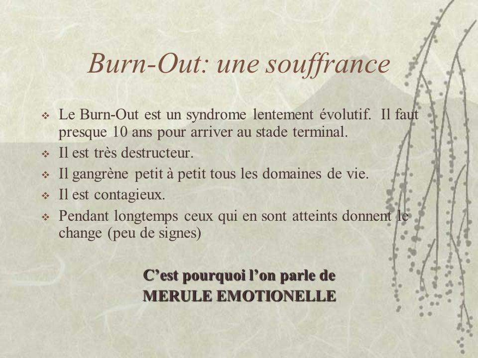 Burn-Out: une souffrance Le Burn-Out est un syndrome lentement évolutif. Il faut presque 10 ans pour arriver au stade terminal. Il est très destructeu