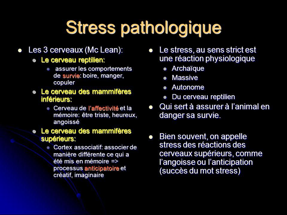 Stress pathologique Le stress, au sens strict est une réaction physiologique Le stress, au sens strict est une réaction physiologique Archaïque Archaï
