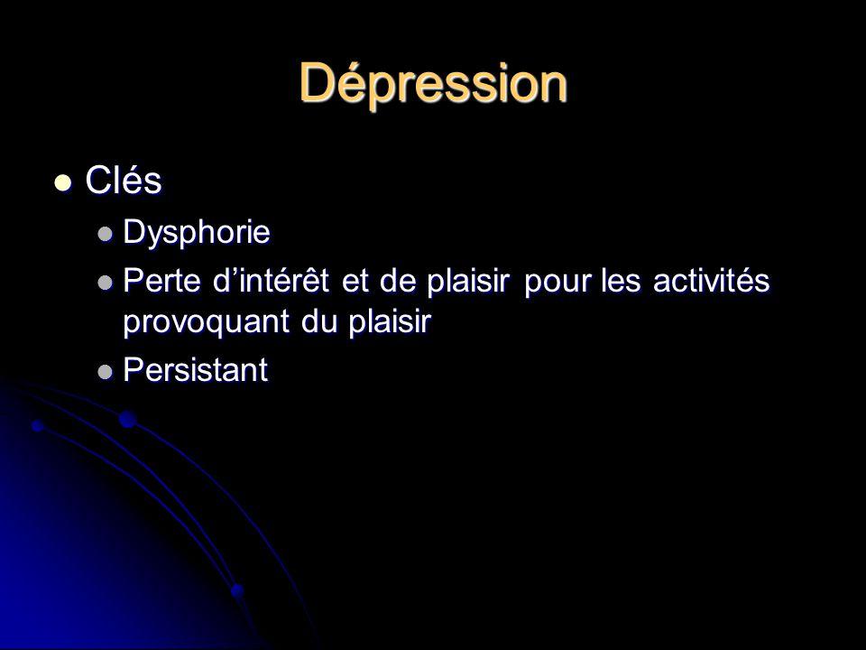Dépression Clés Clés Dysphorie Dysphorie Perte dintérêt et de plaisir pour les activités provoquant du plaisir Perte dintérêt et de plaisir pour les a