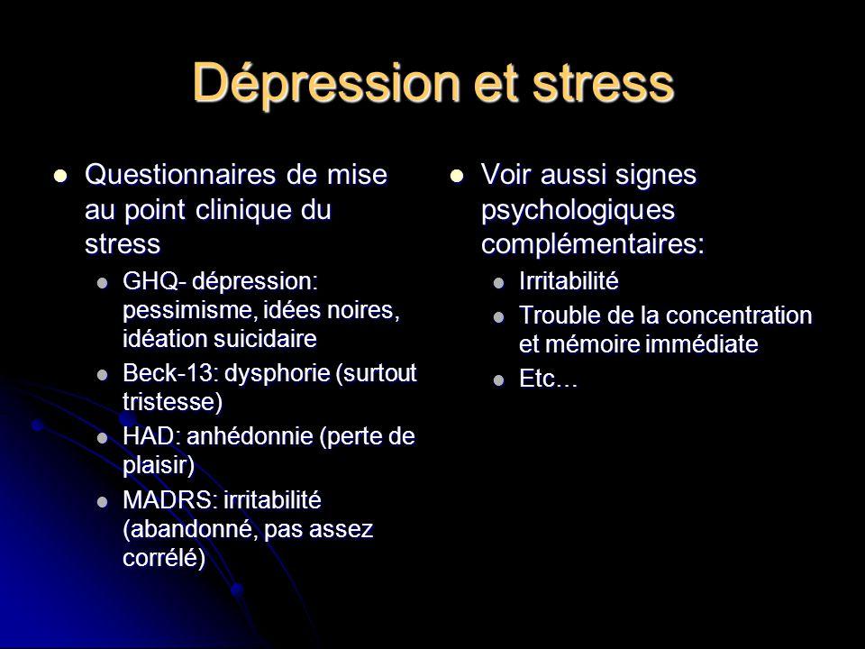 Questionnaires de mise au point clinique du stress Questionnaires de mise au point clinique du stress GHQ- dépression: pessimisme, idées noires, idéat