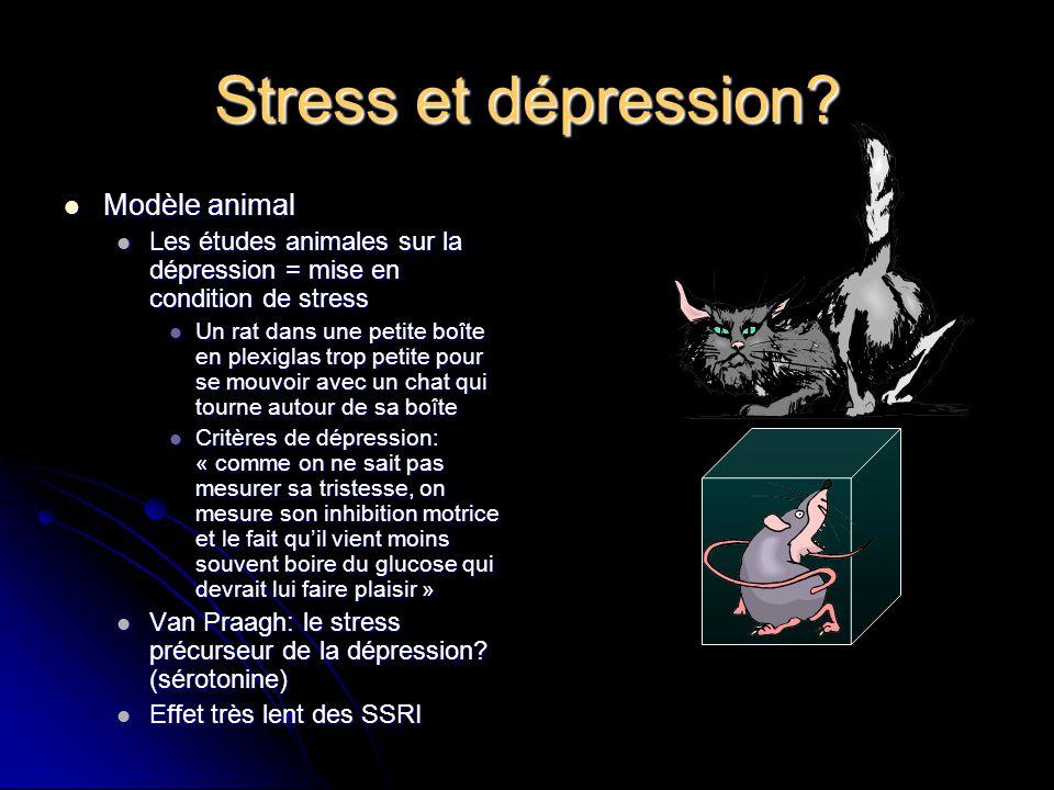 Stress et dépression? Modèle animal Modèle animal Les études animales sur la dépression = mise en condition de stress Les études animales sur la dépre