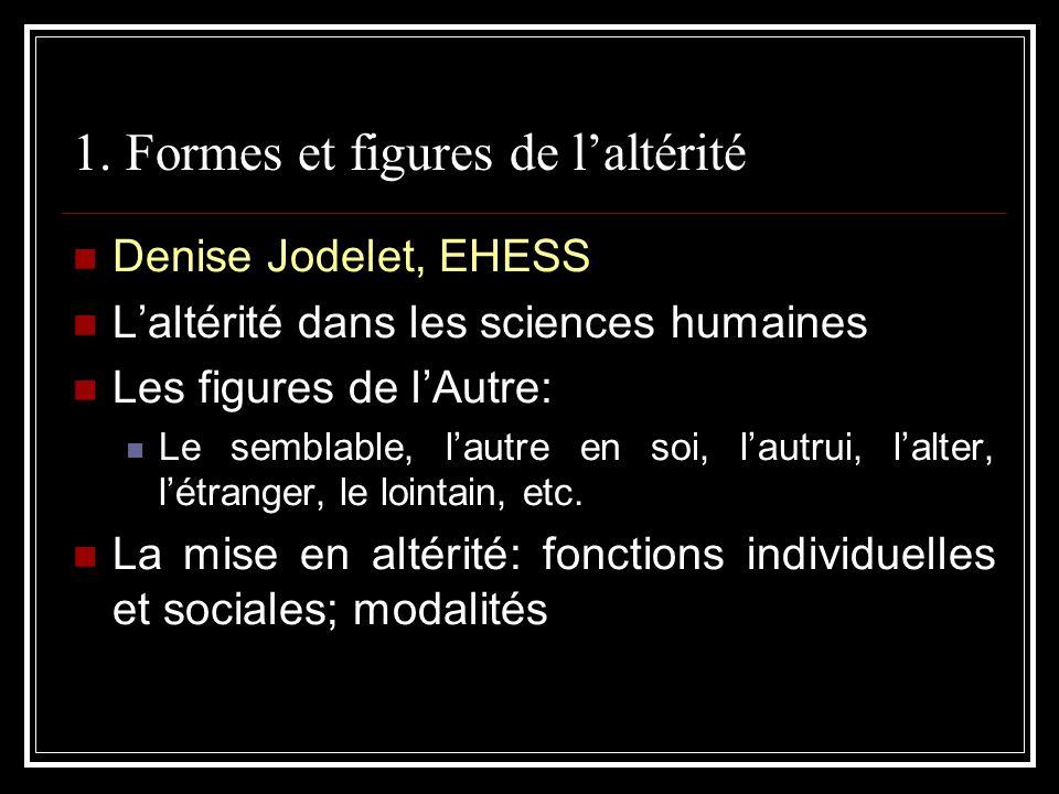 1. Formes et figures de laltérité Denise Jodelet, EHESS Laltérité dans les sciences humaines Les figures de lAutre: Le semblable, lautre en soi, lautr