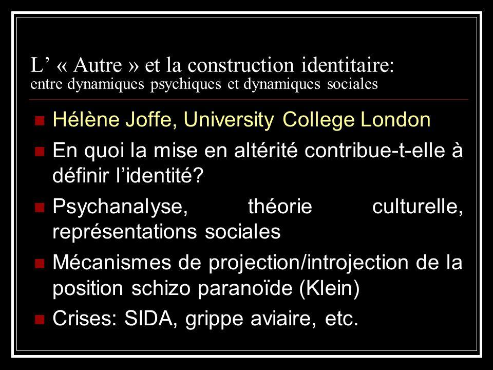 L « Autre » et la construction identitaire: entre dynamiques psychiques et dynamiques sociales Hélène Joffe, University College London En quoi la mise