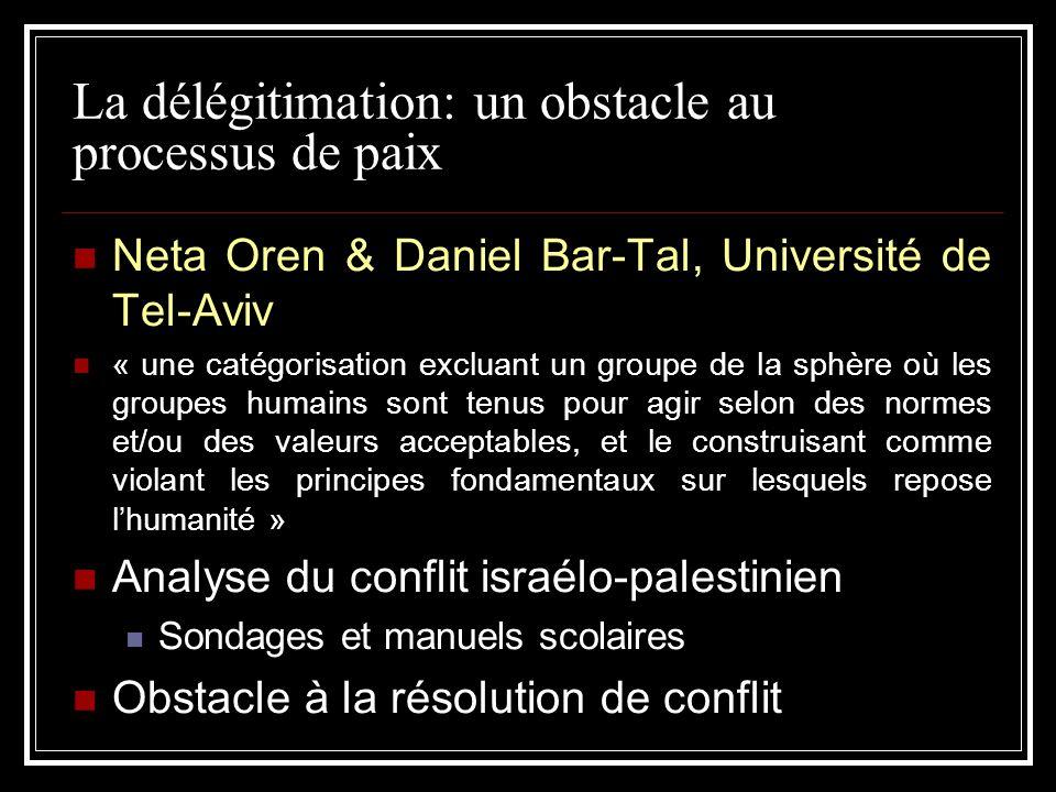 La délégitimation: un obstacle au processus de paix Neta Oren & Daniel Bar-Tal, Université de Tel-Aviv « une catégorisation excluant un groupe de la s