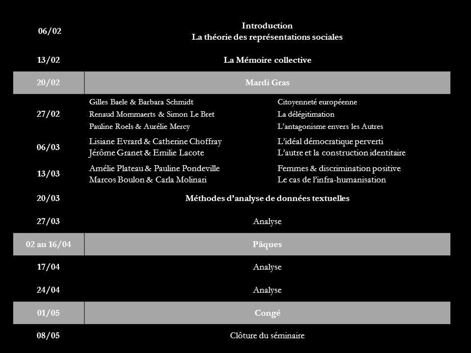 06/02 Introduction La théorie des représentations sociales 13/02La Mémoire collective 20/02Mardi Gras 27/02 Gilles Baele & Barbara Schmidt Citoyenneté