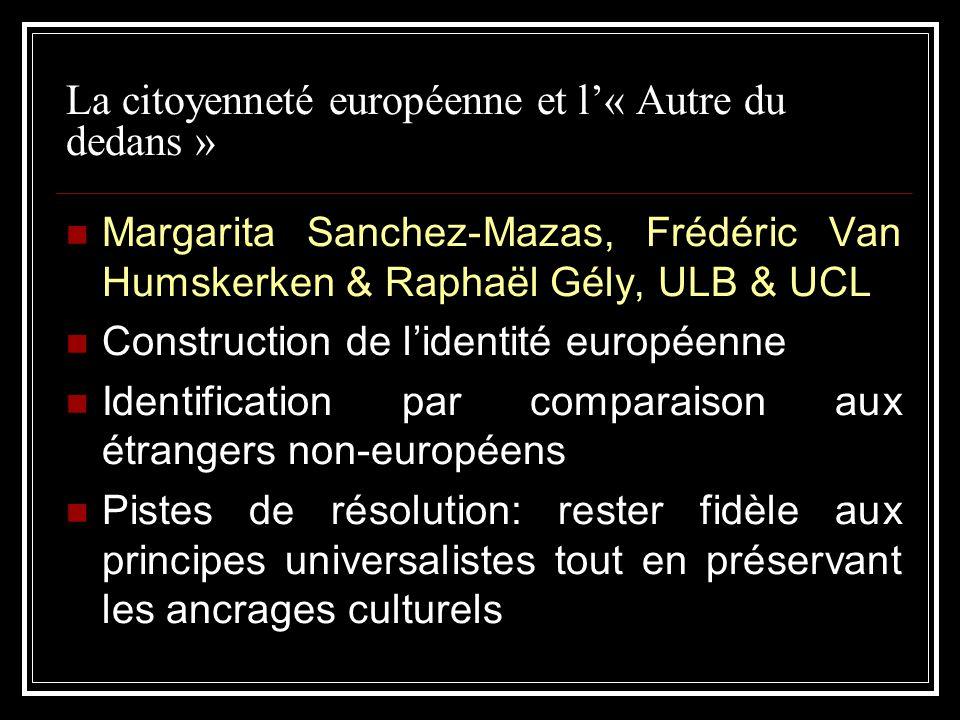 La citoyenneté européenne et l« Autre du dedans » Margarita Sanchez-Mazas, Frédéric Van Humskerken & Raphaël Gély, ULB & UCL Construction de lidentité