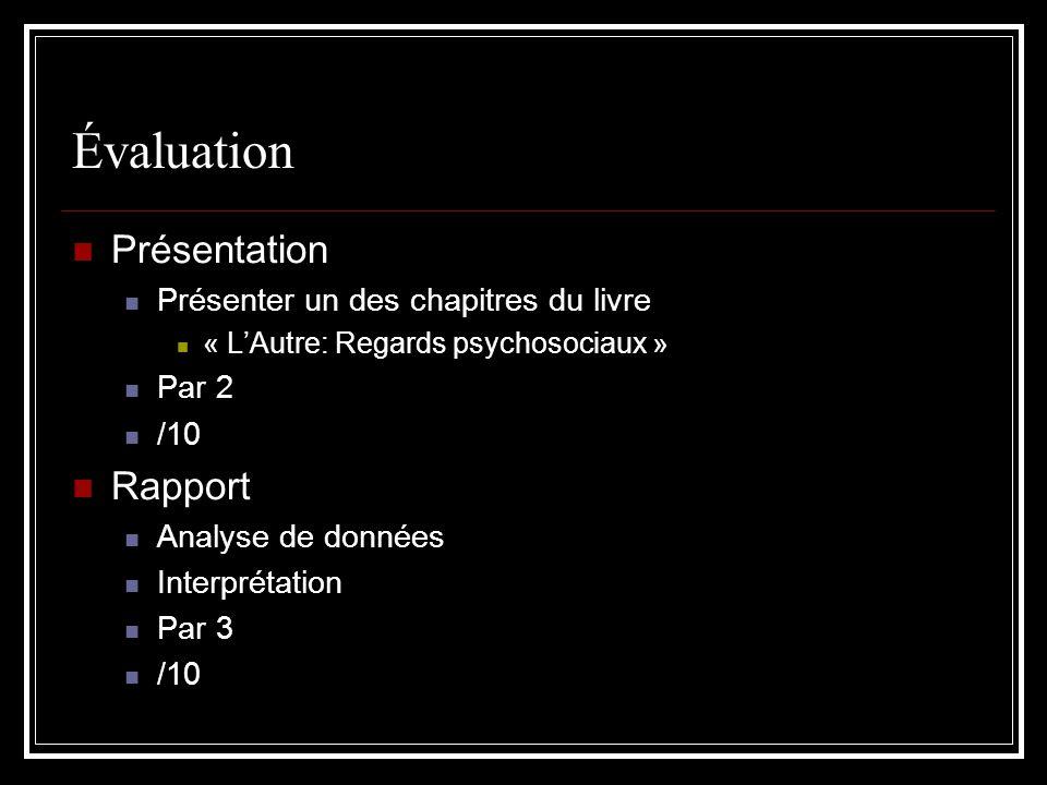 Évaluation Présentation Présenter un des chapitres du livre « LAutre: Regards psychosociaux » Par 2 /10 Rapport Analyse de données Interprétation Par