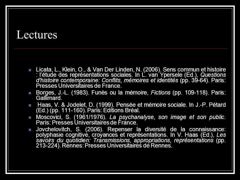 Lectures Licata, L., Klein, O., & Van Der Linden, N. (2006). Sens commun et histoire : létude des représentations sociales. In L. van Ypersele (Ed.),