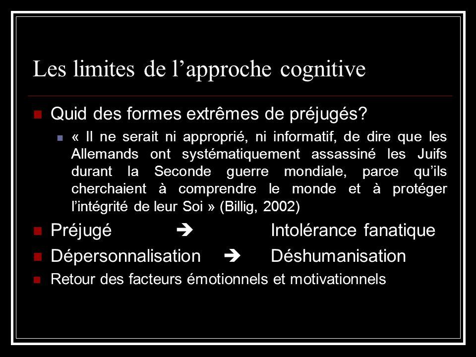 Les limites de lapproche cognitive Quid des formes extrêmes de préjugés? « Il ne serait ni approprié, ni informatif, de dire que les Allemands ont sys