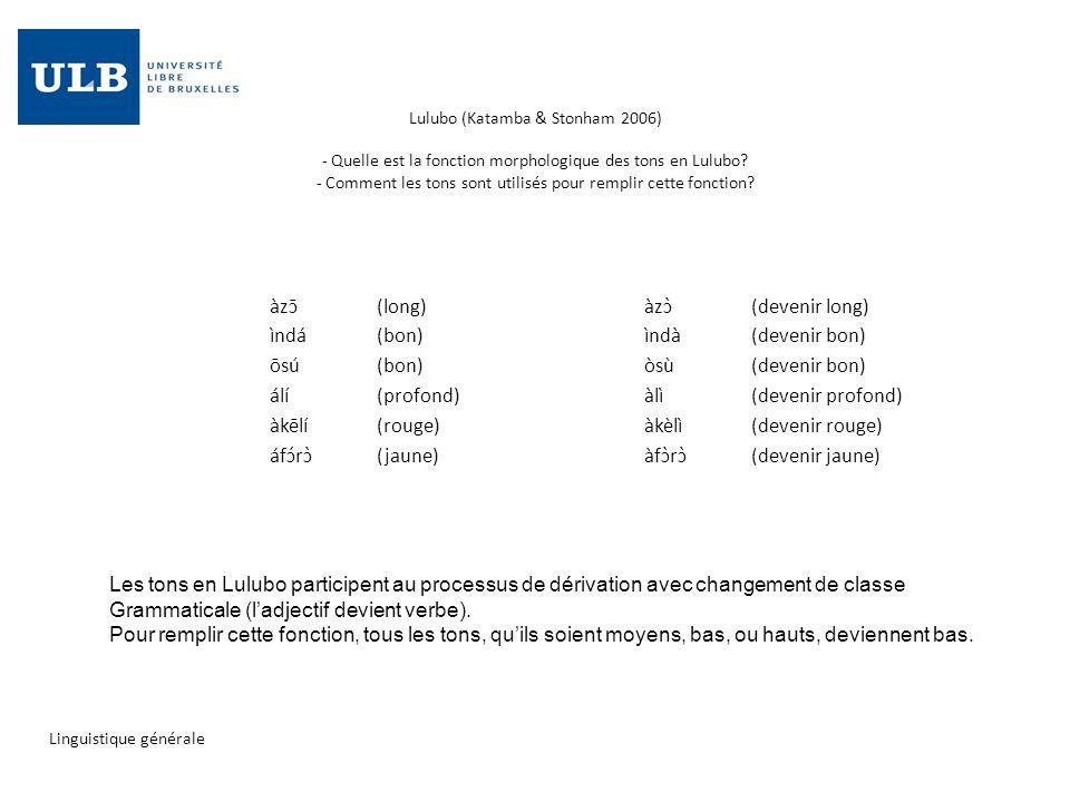 Lulubo (Katamba & Stonham 2006) - Quelle est la fonction morphologique des tons en Lulubo? - Comment les tons sont utilisés pour remplir cette fonctio