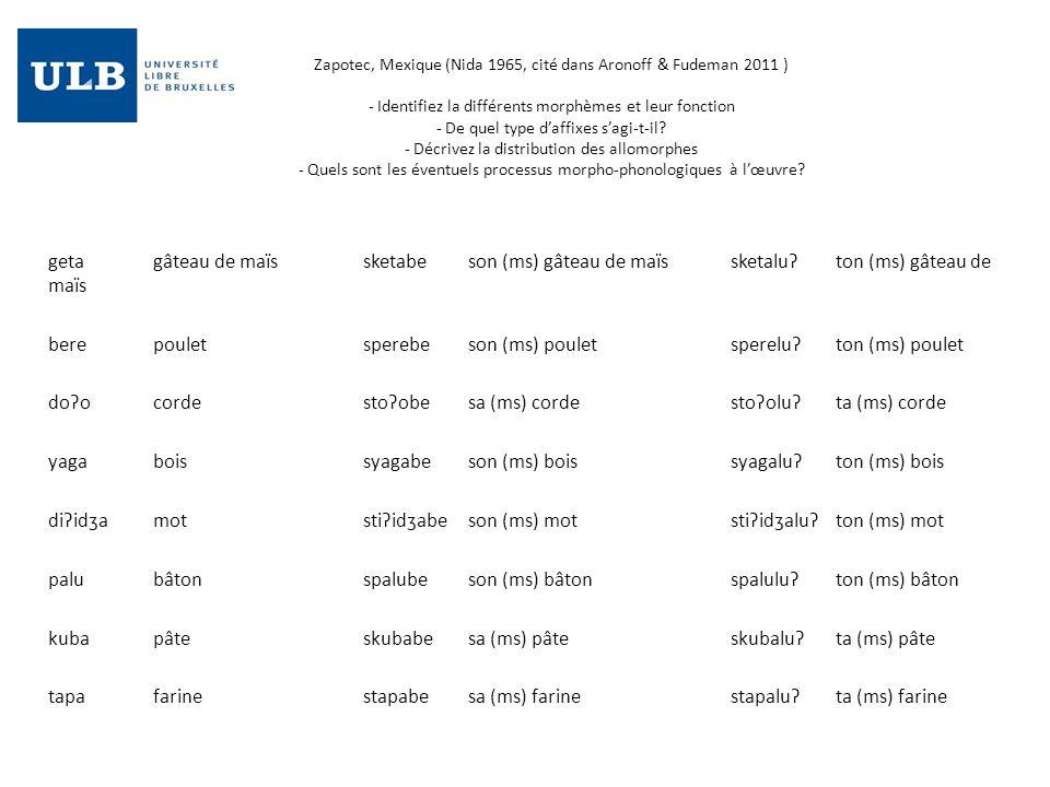 Zapotec, Mexique (Nida 1965, cité dans Aronoff & Fudeman 2011 ) - Identifiez la différents morphèmes et leur fonction - De quel type daffixes sagi-t-i
