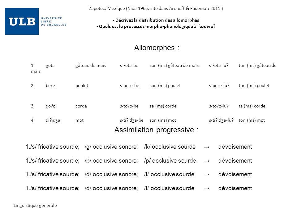 Zapotec, Mexique (Nida 1965, cité dans Aronoff & Fudeman 2011 ) - Décrivez la distribution des allomorphes - Quels est le processus morpho-phonologiqu