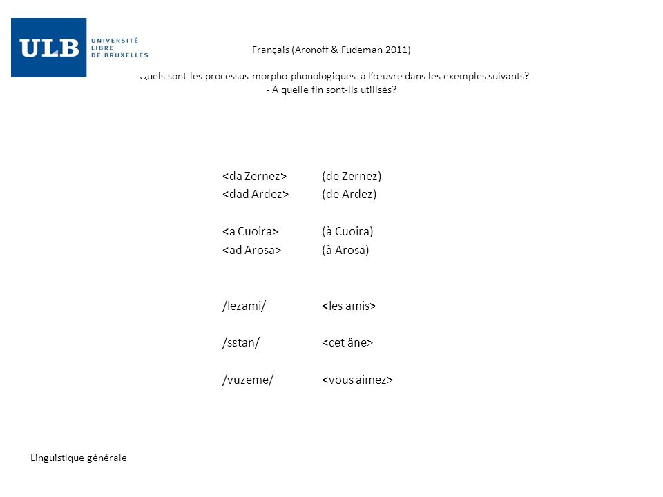 Français (Aronoff & Fudeman 2011) - Quels sont les processus morpho-phonologiques à lœuvre dans les exemples suivants? - A quelle fin sont-ils utilisé