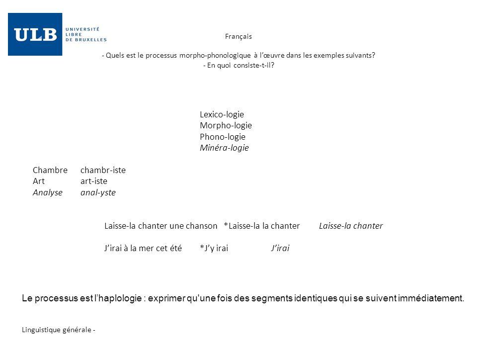 Français - Quels est le processus morpho-phonologique à lœuvre dans les exemples suivants? - En quoi consiste-t-il? Linguistique générale - Lexico-l