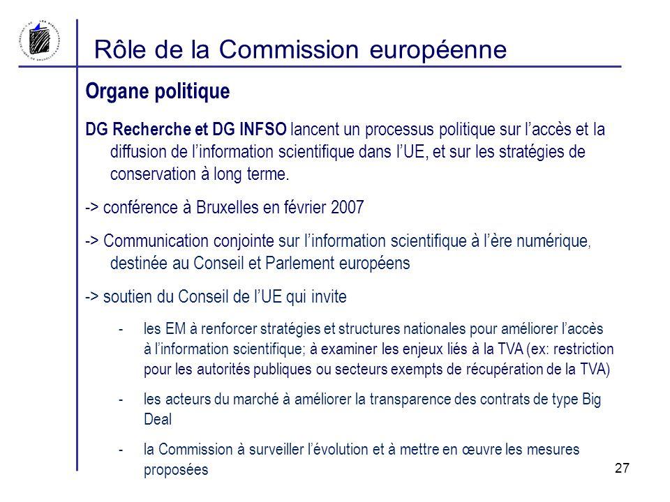 Rôle de la Commission européenne Organe politique DG Recherche et DG INFSO lancent un processus politique sur laccès et la diffusion de linformation scientifique dans lUE, et sur les stratégies de conservation à long terme.
