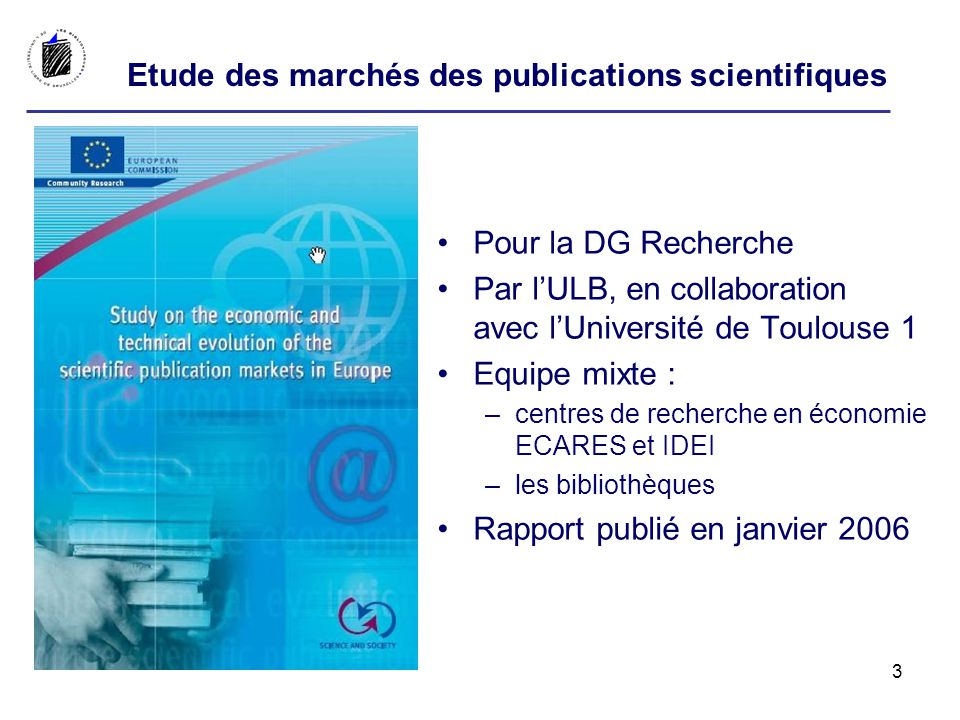 Liens utiles Study on the economic and technical evolution of the scientific publication markets in Europe http://ec.europa.eu/research/science- society/pdf/scientific-publication-study_en.pdfhttp://ec.europa.eu/research/science- society/pdf/scientific-publication-study_en.pdf DG Recherche Scientific information http://ec.europa.eu/research/science- society/scientific_informationhttp://ec.europa.eu/research/science- society/scientific_information Directory of Open Access Journals http://www.doaj.orghttp://www.doaj.org Directory of Open Access repositories http://www.opendoar.orghttp://www.opendoar.org Research funders guidelines/mandates/policies http://www.sherpa.ac.uk/juliet/index.php http://www.sherpa.ac.uk/juliet/index.php Publisher and journal policies http://www.sherpa.ac.uk/romeo.phphttp://www.sherpa.ac.uk/romeo.php DG Internal Market Copyright in the information society http://ec.europa.eu/internal_market/copyright/copyright-infso/copyright- infso_en.htm http://ec.europa.eu/internal_market/copyright/copyright-infso/copyright- infso_en.htm 34