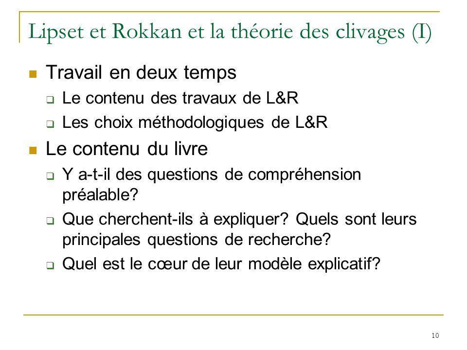 10 Lipset et Rokkan et la théorie des clivages (I) Travail en deux temps Le contenu des travaux de L&R Les choix méthodologiques de L&R Le contenu du livre Y a-t-il des questions de compréhension préalable.