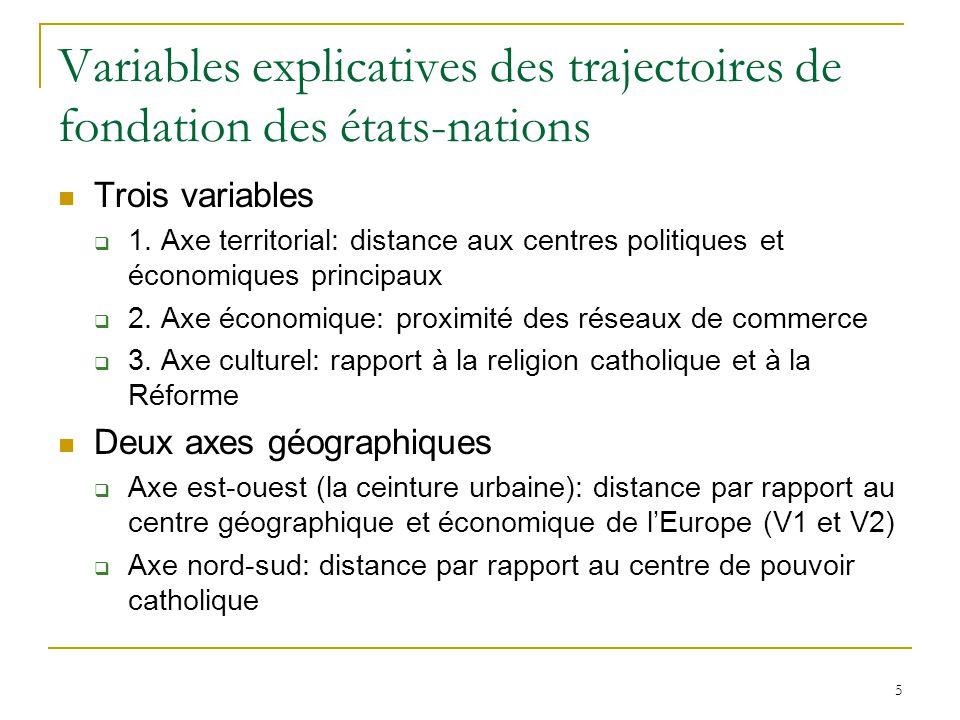 5 Variables explicatives des trajectoires de fondation des états-nations Trois variables 1.