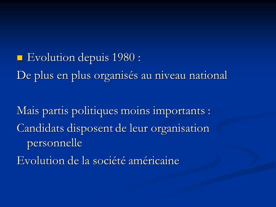 Evolution depuis 1980 : Evolution depuis 1980 : De plus en plus organisés au niveau national Mais partis politiques moins importants : Candidats disposent de leur organisation personnelle Evolution de la société américaine