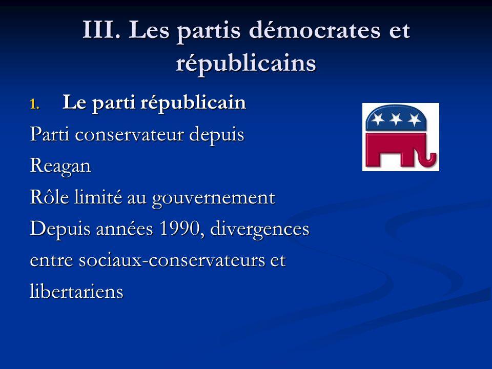 III. Les partis démocrates et républicains 1.