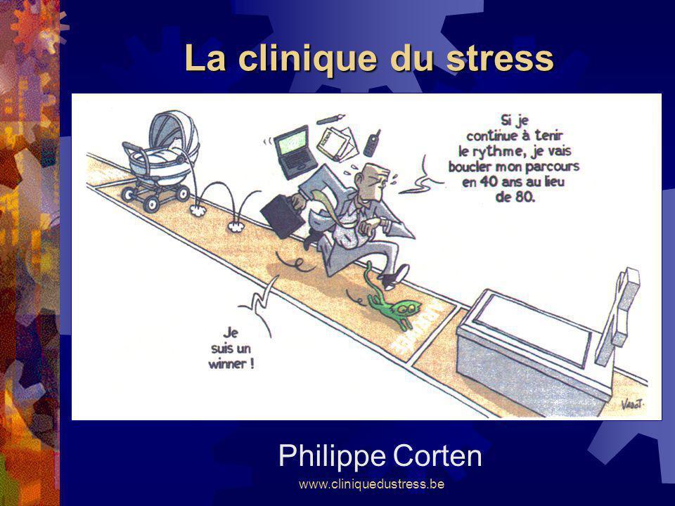 www.cliniquedustress.be Un centre de recherches Une banque de données Plus de 2.000 patients encodés automatiquement lors des bilans de stress Plus de 200 tests-retests à 6 mois dintervalle Livre CORTEN Ph.
